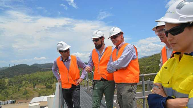 Mercurius CEO Karl Seck (centre) was at Gladstone's Northern Oil yesterday with plans to build a biorefinery pilot project later this year.