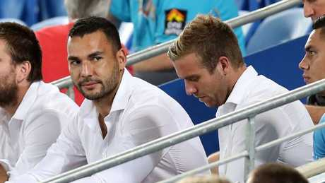 Ryan James checking out the action with Kane Elgey.