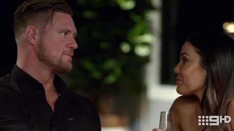 Dean and Davina were plotting to run off together. Picture: Channel 9