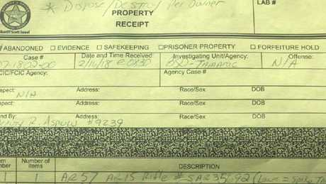 The receipt for the surrender, showing the AR-57 marked to be destroyed. Picture: Facebook/Ben Dickmann