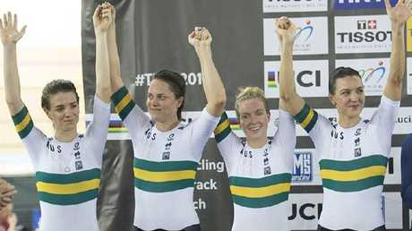 Australians Ashlee Ankudinoff, Amy Cure, Alex Manly and Rebecca Wiasak after winning silver at the 2017 World Championships in Hong Kong in the Women's Team Pursuit. Picture: Casey Gibson