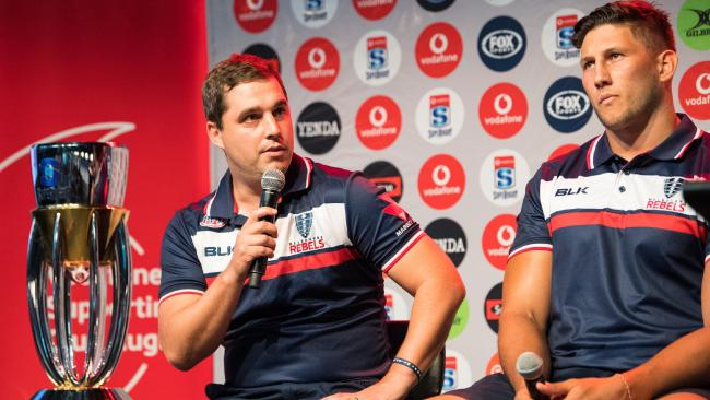 Melbourne Rebels head coach Dave Wessels and captain Adam Coleman. Picture: RUGBY.com.au