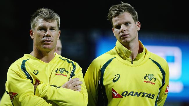 David Warner with regular captain Steve Smith.