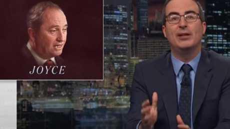 John Oliver mocks Barnaby Joyce on his program Last Week Tonight. Picture: HBO