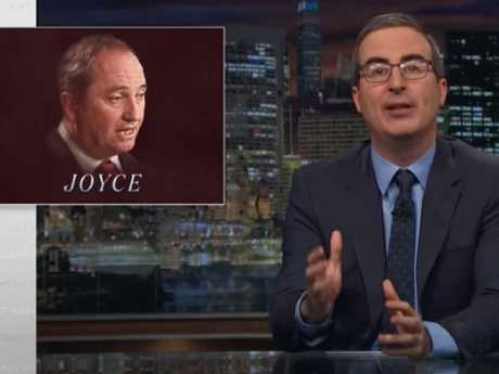 John Oliver mocks Barnaby Joyce on his program Last Week Tonight. Picture: HBO