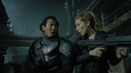 Will Yun Lee and Dichen Lachman in a scene from Altered Carbon.