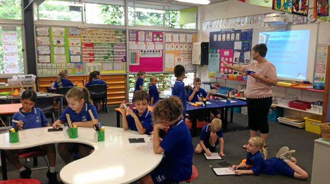 FIRST CLASS: Students from Sunshine Beach State School enjoying maths lesson in their newly furnished classroom, which includes flexible seating.