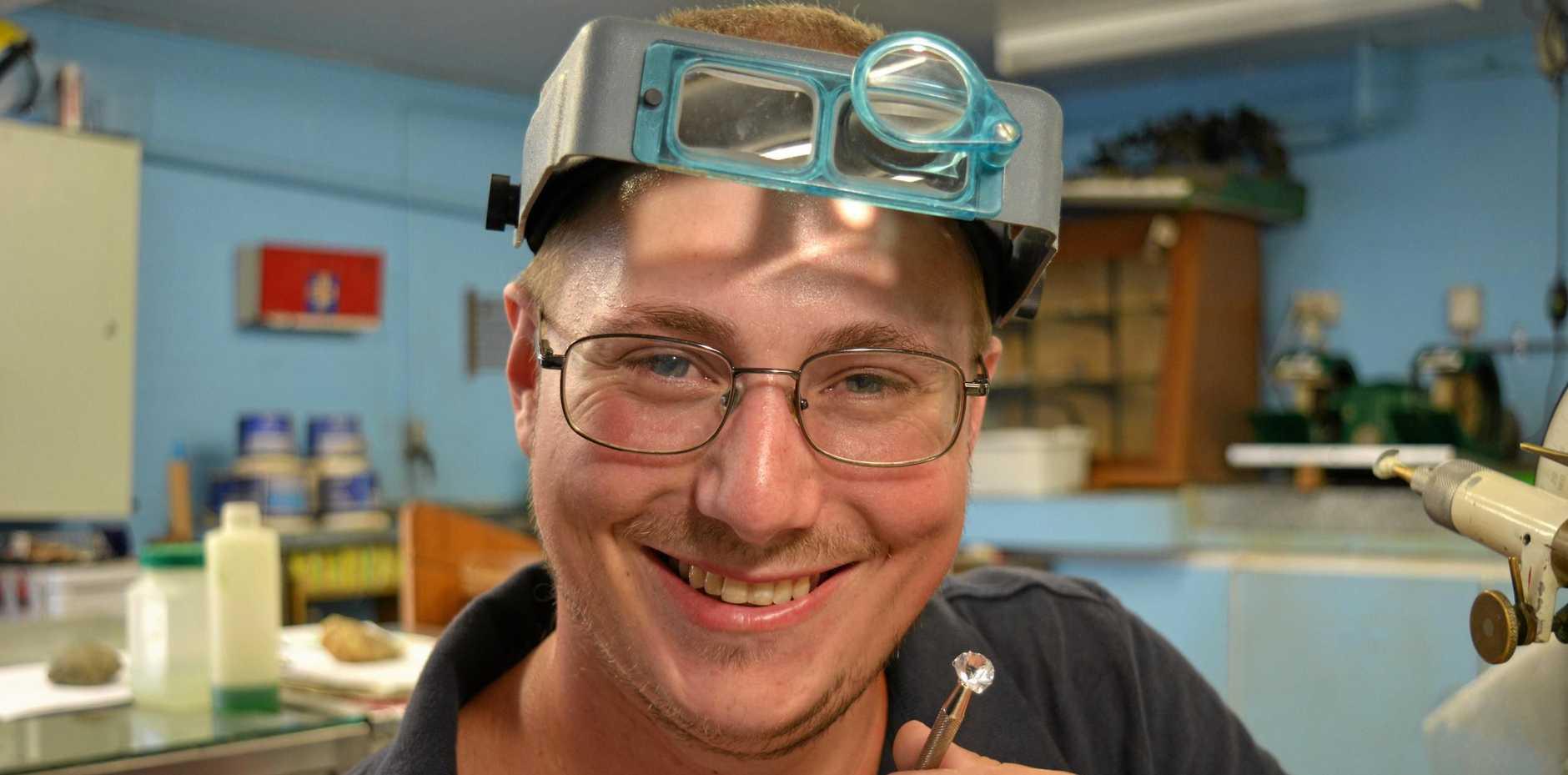 QUARTZ: Gatton Lapidary Club's Luke Gempton is ready for the Gatton Gem, Mineral and Fossil Show.