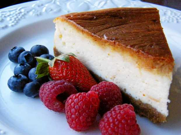Delicious,  Janice's baked cheesecake.