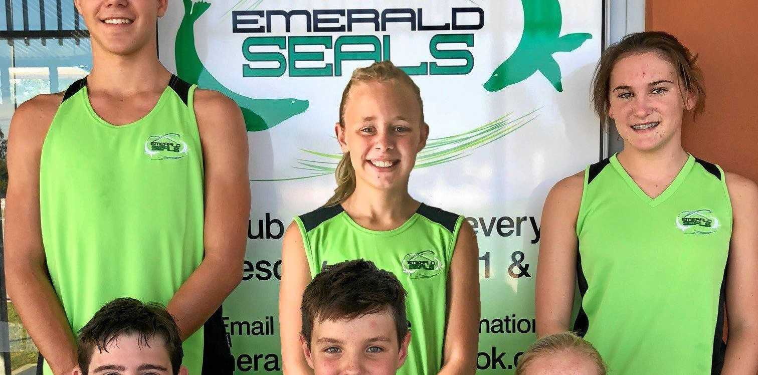 POOLING THEIR TALENT: Ben Gaskin, Tegan Sprought, Lisa Stoyles, William York, Blake Robinson and Lora Connolly at the Queensland Sprints Championships.
