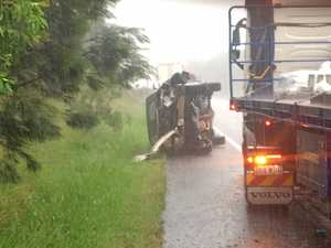 GRIDLOCK: One adult, two children hurt in Bruce Hwy roll-over