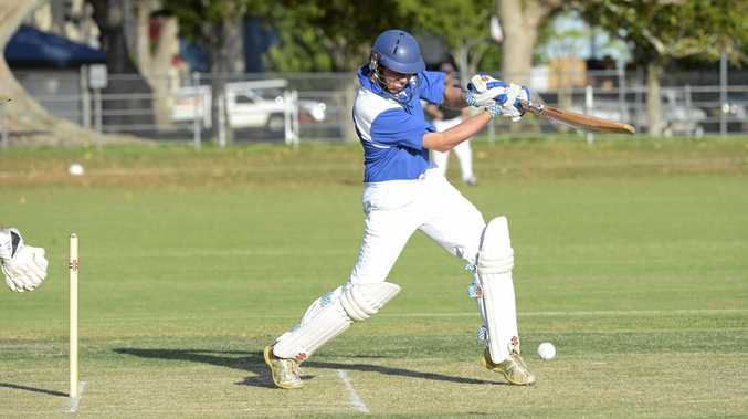 Harwood captain Ben McMahon drives through the ball during the Cleavers Mechanical Night Cricket Round 11 clash between Harwood and GDSC Easts at McKittrick Park.