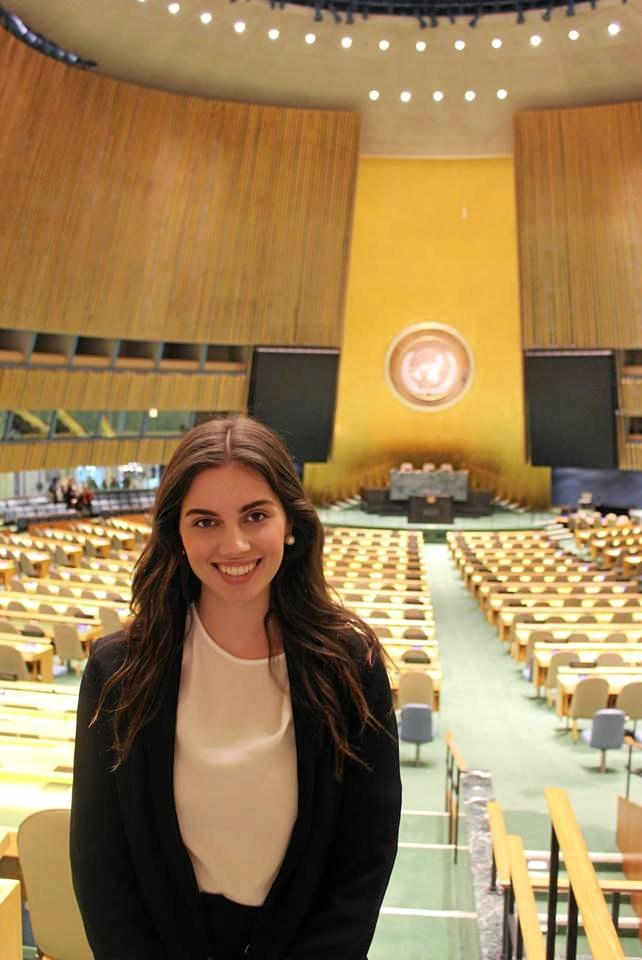 WORLD STAGE: Former Rockhampton woman and Bond University student Shinae Haidley gave a speech to 1000 students at the model UN conference in New York.