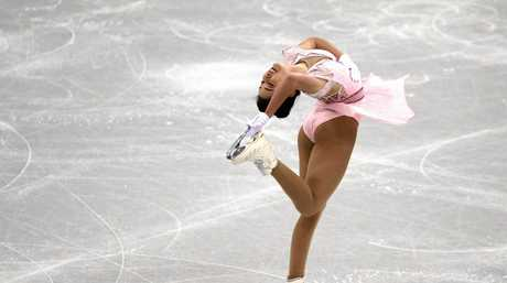 Kailani Craine in the ladies single skating short program in PyeongChang.