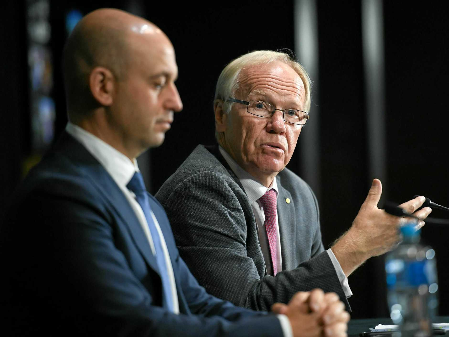 Peter Beattie (right) with NRL chief executive Todd Greenberg.