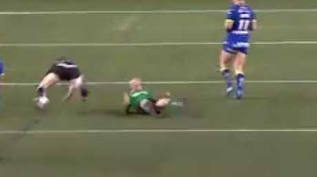 Chris Houston knocks the referee to the ground.