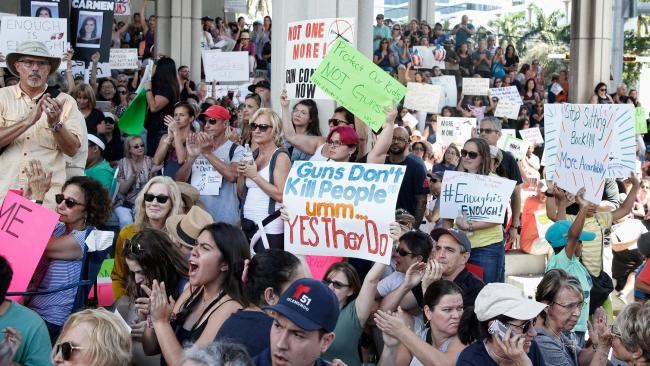 Protesters want gun control after 17 students and teachers were killed by a gunman at Marjory Stoneman Douglas High School in Parkland, Florida. Picture: AFP / Rhona Wise.