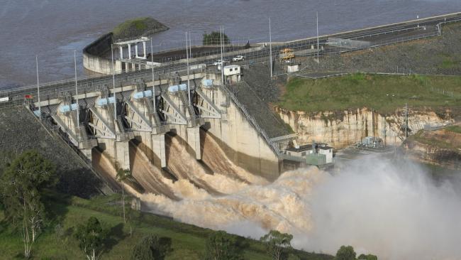 Releasing water from Wivenhoe Dam.