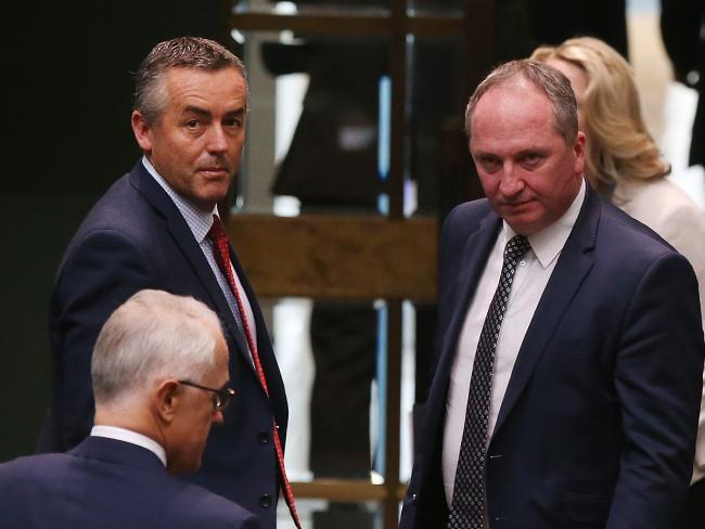 Nationals MP Darren Chester speaking with Deputy PM Barnaby Joyce. Picture: Kym Smith