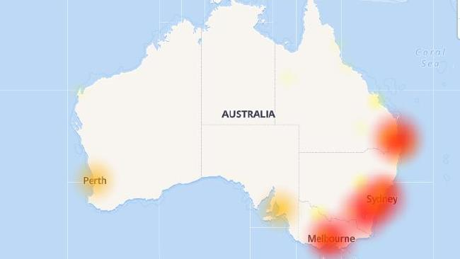 Aussie Outages shows reports mostly originate from: Brisbane, Melbourne, Sydney, Perth, Adelaide, Parramatta, Drummoyne, New Farm, North Sydney, and Abbotsford.