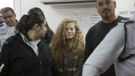 Palestinian protest icon Ahed Tamimi in a courtroom at the Ofer military prison near Jerusalem.