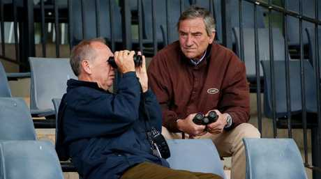 Terry Henderson, pictured with trainer Luca Cumani, is deeply concerned that the Melbourne Cup could be tainted by the alleged cheating. Picture: Colleen Petch