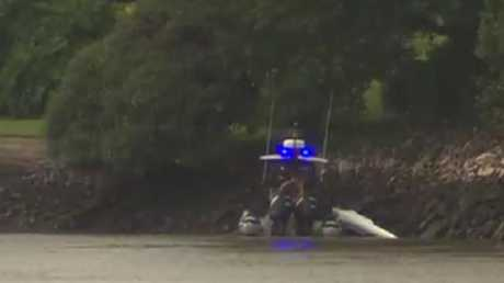 Water Police during the search for a missing kayaker on the Brisbane River. Picture: Sunrise/Channel 7