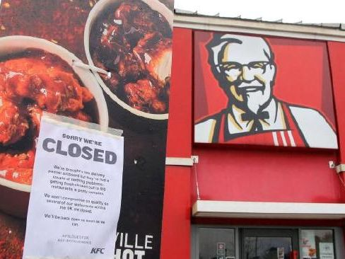 Feathers fly as chicken shortage closes KFCs across Britain