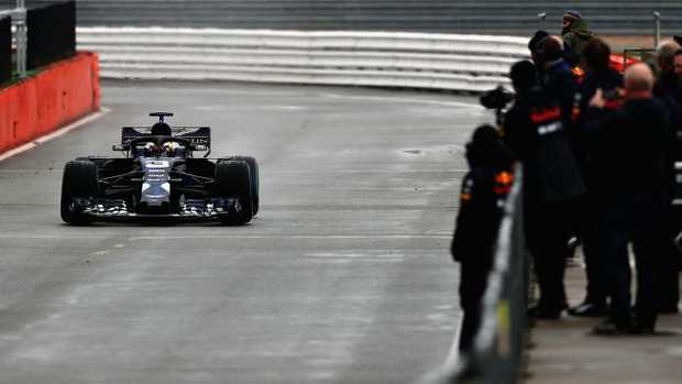 Daniel Ricciardo driving the RB14 during filming day at Silverstone. (Photo by Mark Thompson/Getty Images)
