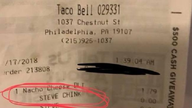 A Taco Bell customer found a racial slur on his receipt. Picture: Facebook