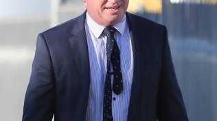 Barnaby Joyce walks into the Royal Hotel Armidale while on break. Picture: John Grainger