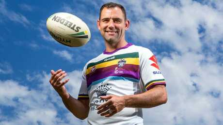 Cameron Smith and the specially designed jersey he will wear in Friday night's testimonial game at Suncorp Stadium.