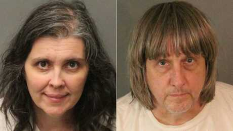 David and Louise Turpin were arrested after authorities found a dozen malnourished siblings held captive in their home, some shackled in the dark to their beds. Picture: AFP