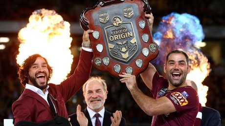 Johnathan Thurston and Cameron Smith have had plenty to celebrate at Suncorp Stadium together over the years. Photo: Adam Head