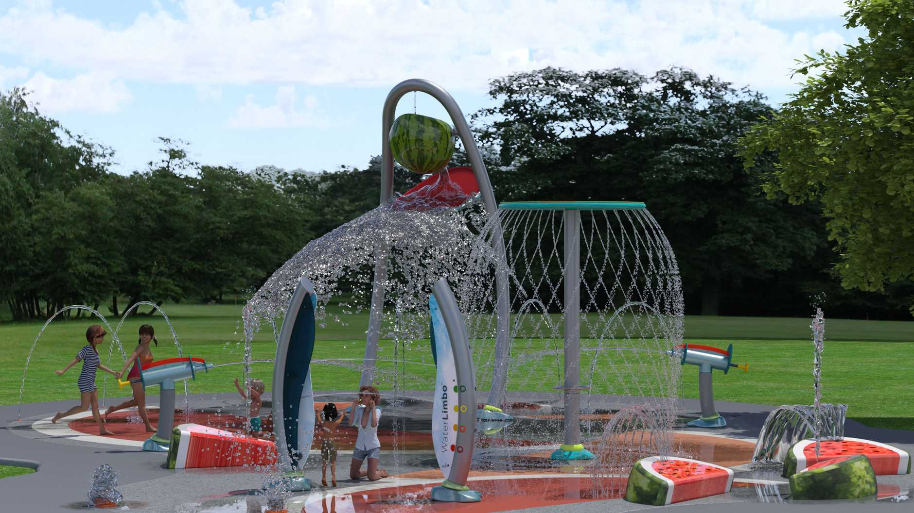 Artist's impression of the water play area to be featured in the Chinchilla Botanic Parklands due to open early 2019.