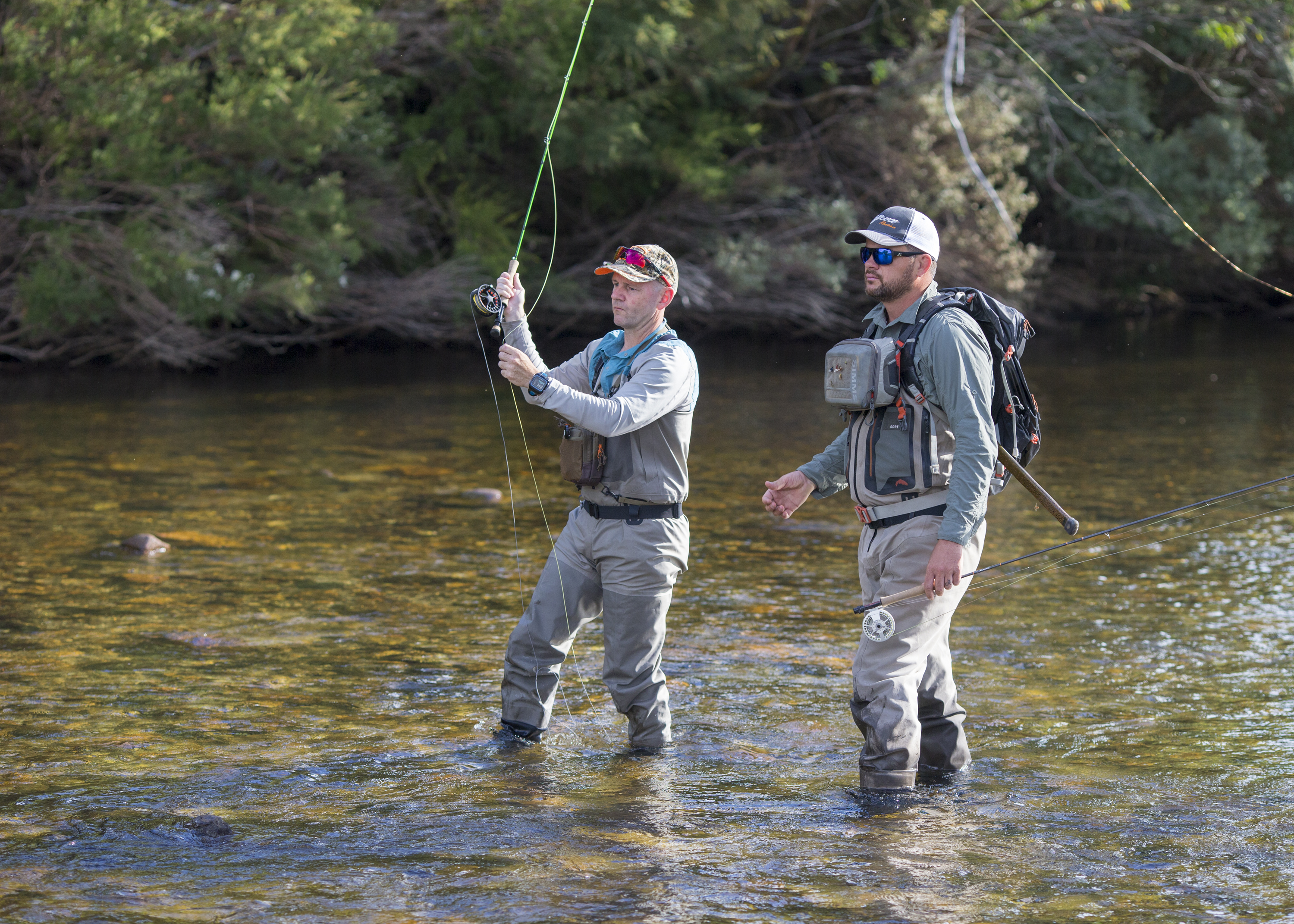 The Fly Program founder Matt Tripet takes an angler through the steps of fly fishing.