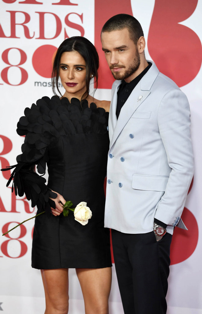 British singer/songwriters Cheryl Cole (L) and Liam Payne (R) arrive for the 2018 Brit Awards at the O2 Arena in Greenwich, London, Britain, 21 February 2018.