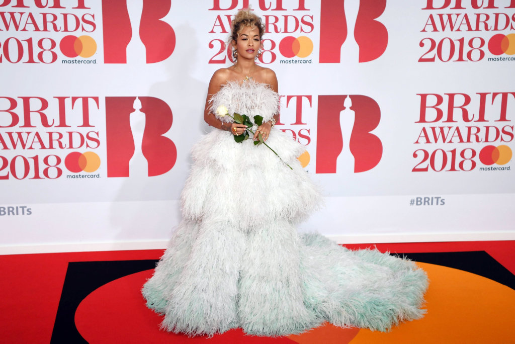 British singer/songwriter Rita Ora arrives for the 2018 Brit Awards at the O2 Arena in Greenwich, London, Britain, 21 February 2018.