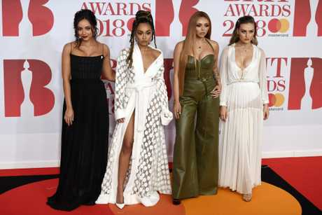 British singer/songwriters Jade Thirlwall (L) Leigh-Anne Pinnock (2-L) Jesy Nelson (2-R) and Perrie Edwards (R) from Little Mix arrive for the 2018 Brit Awards at the O2 Arena in Greenwich, London, Britain, 21 February 2018.