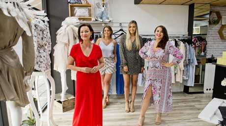 ( From left ) New owner Amy Winks, previous owner Brooke Jones, Booke Parry and Madeline Milles. Smoke & Mirrors Boutique. Thursday, 22nd Feb, 2018.