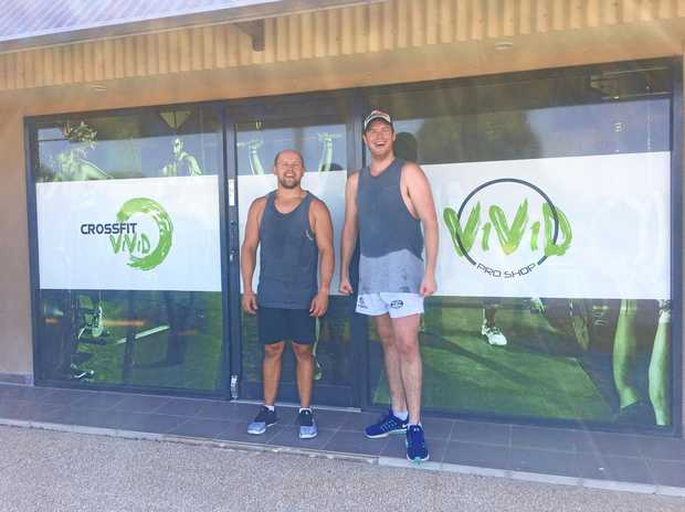 Rob Muellner and Sam Eager ready for a workout at Crossfit Vivid.