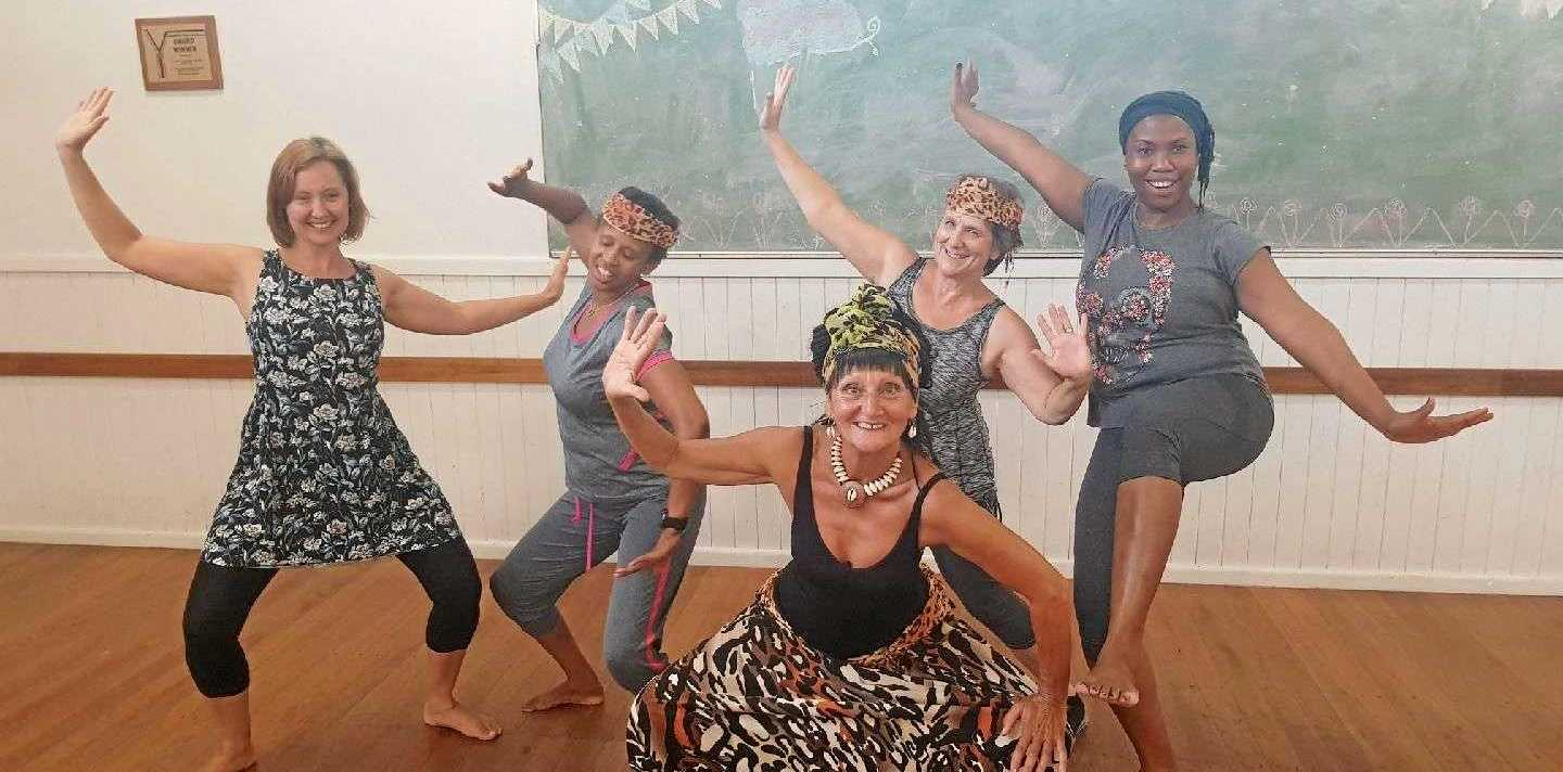 FEEL THE BEAT: Maitoumbi, centre front, leads her Monday night Afro Cardio class