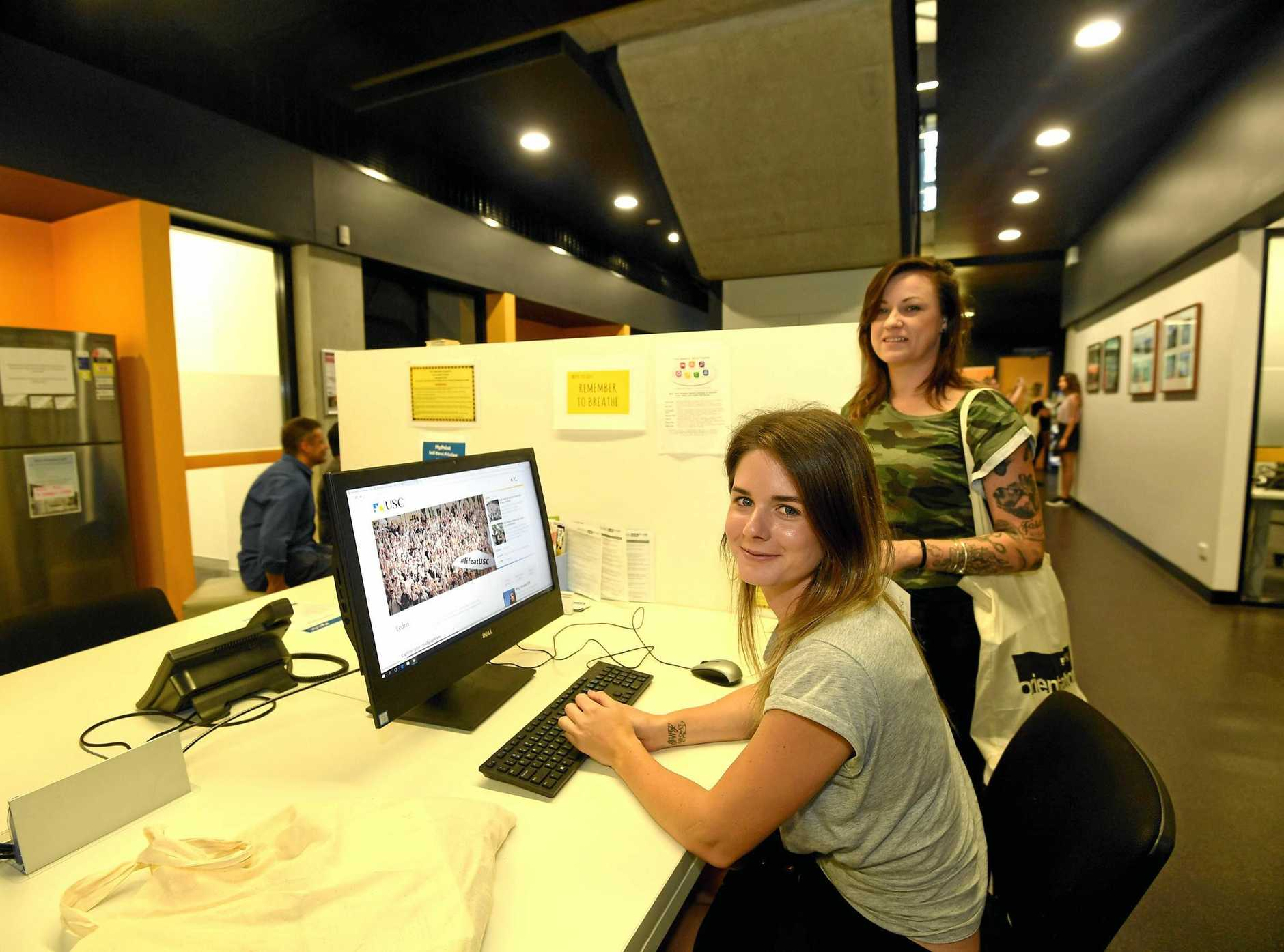 BUZZING: USC students Lateesha Ottesen and Jessica McFarlane at the Gympie Orientation program.