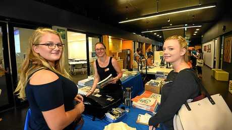 READY TO HIT THE BOOKS: Mia Bezai, Wendy Bujayer and Georgia Glenn at the USC Gympie Orientation program.