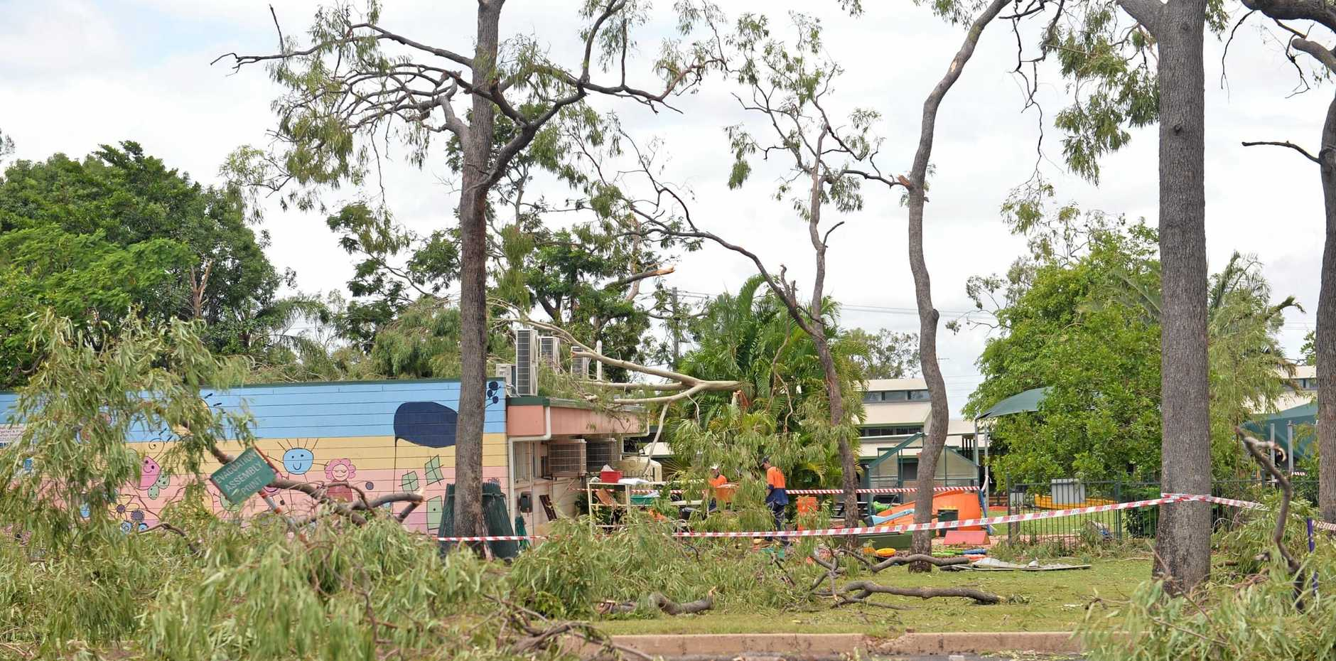 Foliage strewn across the Isaac Regional Council carpark after cyclonic winds swept through the central Queensland town.