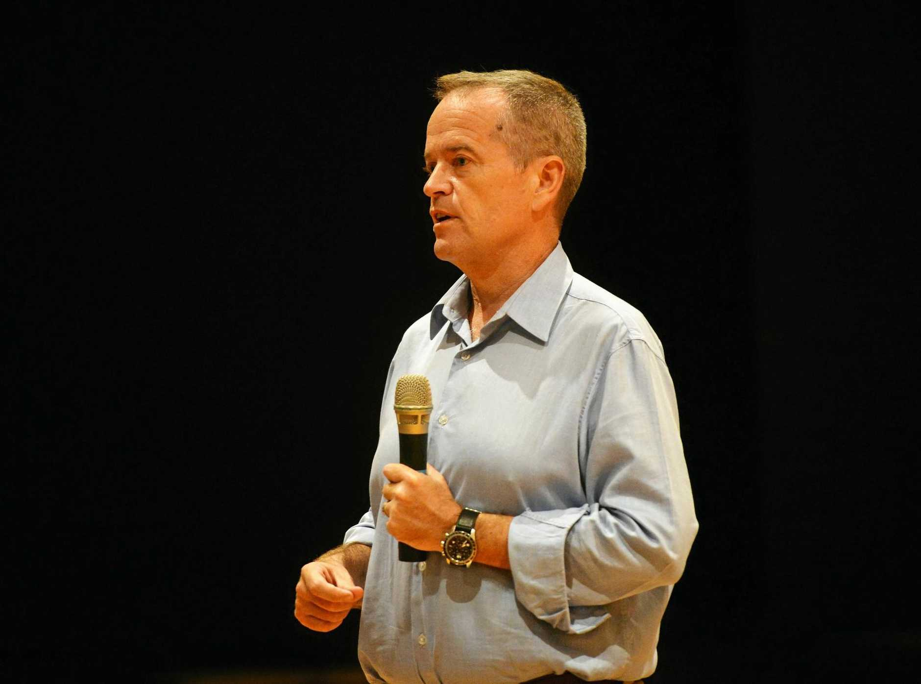 ROCKHAMPTON VISIT: Opposition Leader Bill Shorten defends his stance on Adani.