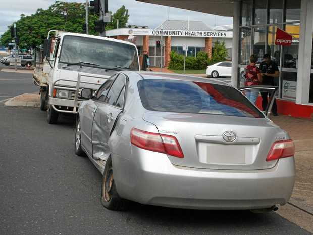 A Toyota camry was smashed in a two vehicle crash this morning at Biloela.