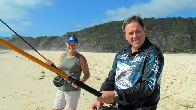 Stephen and Robyn Duffield get ready for the revamped Greenback Fishing competition at Cabarita beach.