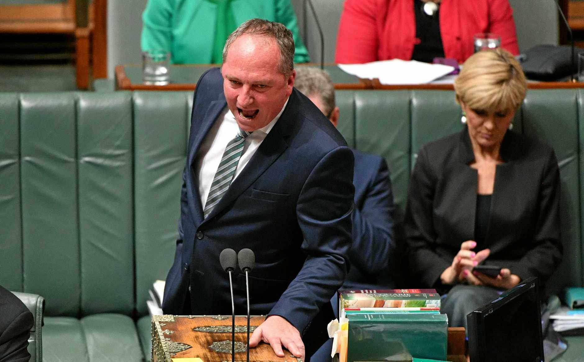 IT'S ON: Hinkler MP Keith Pitt, inset left, and Wide Bay MP Llew O'Brien, inset right, have spoken out about embattled Deputy Prime Minister Barnaby Joyce as a challenge looms for the Nationals leadership.