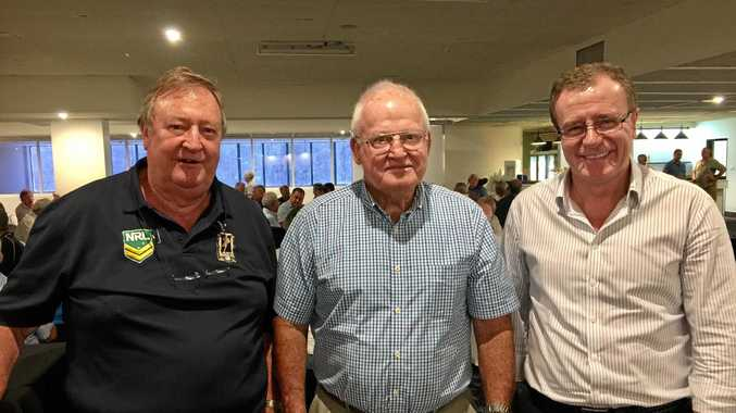 TRIO: Paul Rimington, former Australian hooker Noel Kelly and Titans' CEO Graham Annesley make a formidable front row at the MOL luncheon at Seagulls.